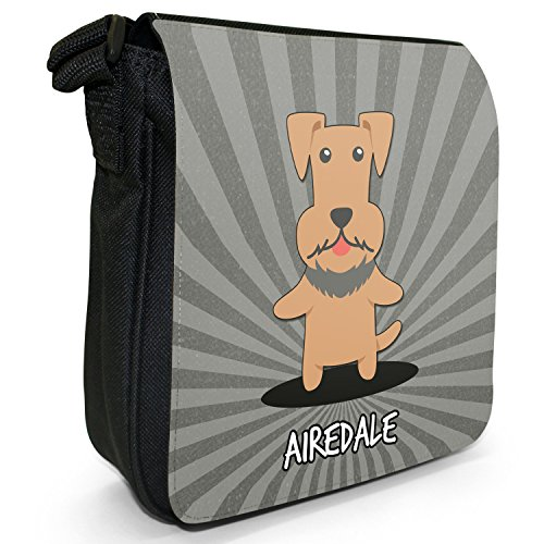 Dogs Size Small Bingley Airedale Shoulder Terrier Black Canvas Cartoon English Bag 5PxZa