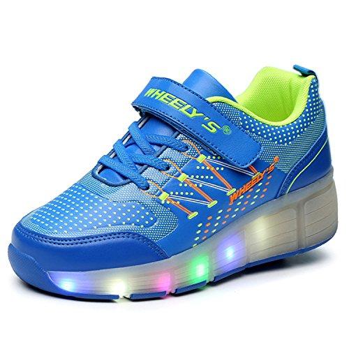 LILY999 Zapatillas con ruedas automáticas para niños. Con luces LED Azul