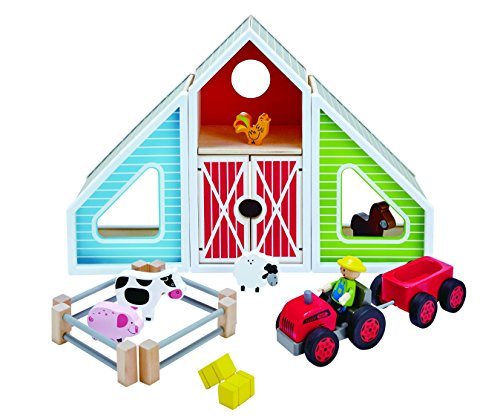 (Hape Classic Colorful Barn Wooden Play Set)