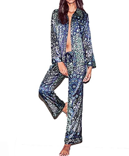 Tailored Womens Pajamas (Victoria's Secret.. The Afterhours Floral Satin Pajama Set Long Sleeve Small)