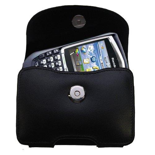 Designer Gomadic Black Leather Sprint Blackberry 8703e Belt Carrying Case - Includes Optional Belt Loop and Removable Clip