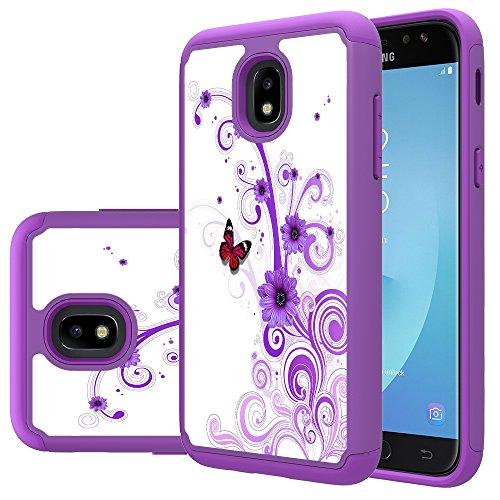 MAIKEZI TPU Plastic case for Samsung Galaxy J3 2018/J3 V 3rd gen/J3 Eclipse 2/Orbit/Achieve/Express Prime/Prime 2/Emerge 2018/Amp Prime 3/Sol 3/J3 Aura/Star(Purple Flower)