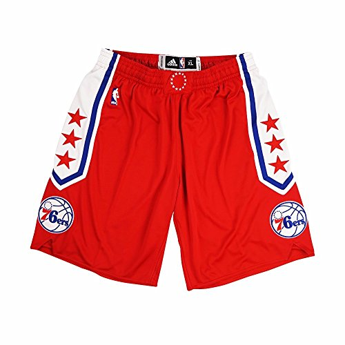 (adidas Philadelphia 76ers NBA Red Authentic On-Court Team Issued Pro Cut Game Shorts Shorts for Men (3XLT))