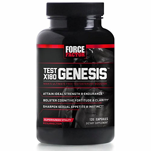 Force Factor Test X180 Genesis Free Testosterone Booster Improve Sexual Performance And Build Muscle  120 Count