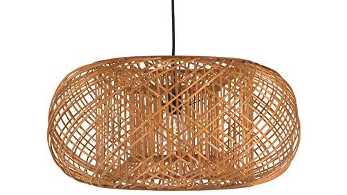 KOUBOO Bamboo Crisscross Pendant, Rustic Brown Ceiling Lamp (Light Rattan Round Pendant)