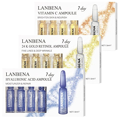 LANBENA Vitamin C Serum Hyaluronic Acid Serum Retinol 24K Gold Serum Ampoule For Face Skin Care 100% Natural Ingrendients -Anti Wrinkle, Anti Aging,Remove Freckle,Whitening,Moisturizing, of 3 ()