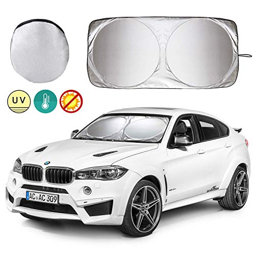 Windshield Sun Shade, UNIVERSAL Sun Shade for Car Windscreen, Blocks UV Rays Keep Your Vehicle Cool, Windshield Cover Sun Visor Protector Car Curtains for Full Size Cars, SUVs, Trucks and Vans etc (Best Car Windscreen Sun Shade)