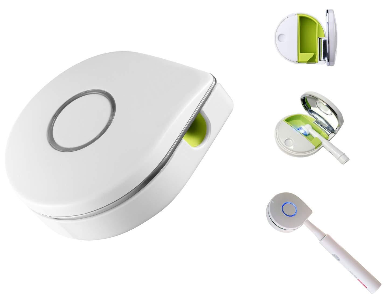 UV Toothbrush Sanitizer Case Travel Toothbrush Sterilizer Organizer Case Toothbrush Cleaner Holder (White)