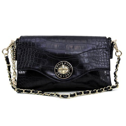 Dasein Women's Classic Fashion Elegant Croco Textured Evening Clutch Wallet Purse w/ Twist-lock Closure & Detachable Strap