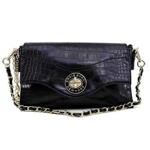 Dasein Women's Classic Fashion Elegant Croco Textured Evening Clutch Wallet Purse w/ Twist-lock Closure & Detachable Strap
