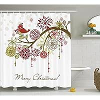 Cortina de ducha de Navidad de Ambesonne, Sombrero y bufanda del pájaro rojo de invierno floral sagrado en el árbol floreciente Inspiración natural, Juego de decoración de tela con ganchos, 70 pulgadas, verde blanco