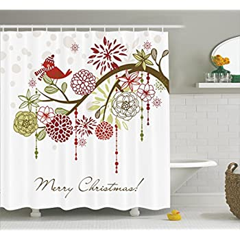 Merry Christmas Shower Curtain Bathroom Curtains By Ambesonne Fabric Xmas Floral Winter