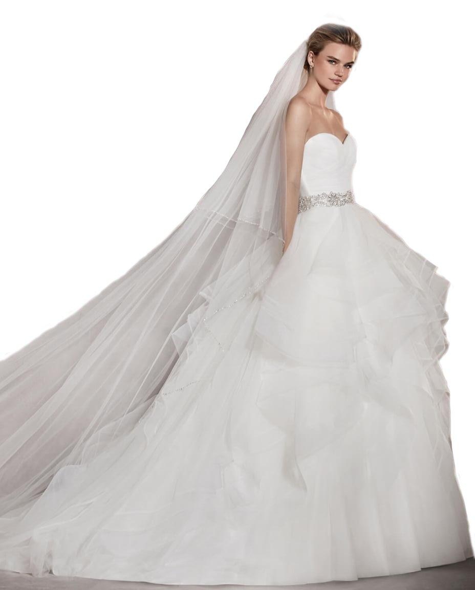 Passat Diamond White 1 Tier 2M Long Wedding Veil Sequin Pearl Edge Luxury Crystals Beaded Bling Bridal Veil H62