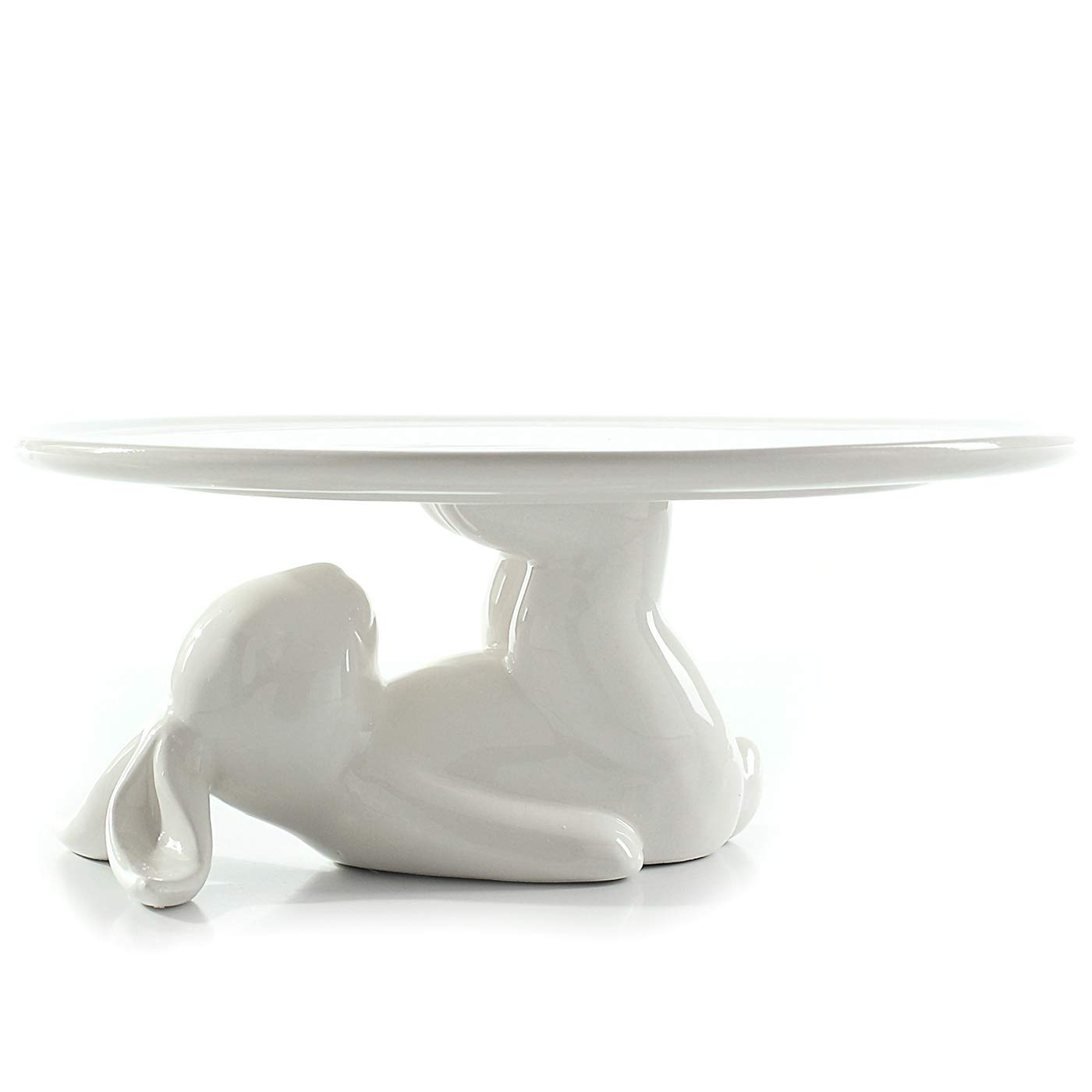 Jusalpha New Style White Ceramic Cake stand With Cute Rabbit Stand 12 Inches