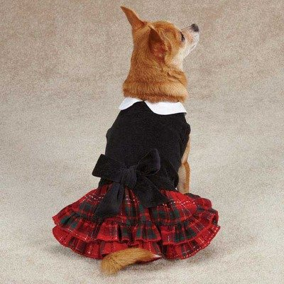 Yuletide Tartan Velvet Dog Dress Size: Medium (16″ H x 11.5″ W x 0.25″ D), My Pet Supplies