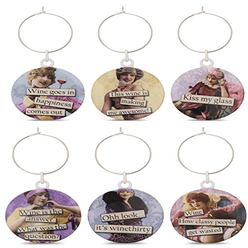 Funny Vintage Women Wine Glass Charms - Set of 6 Wine Tags. Always know which glass is yours with these wine markers! by Savvy Design Store (Image #4)