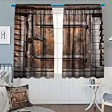 Vintage Window Curtain Fabric Rustic Wooden Door of Old Barn in Farmhouse Countryside Village Aged Rural Life Image Drapes for Living Room 72″ W x 84″ L Brown For Sale