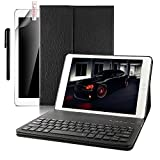 iPad 9.7 Case with Keyboard - Boriyuan Leather Smart Case Stand Folio Cover with Detachable Wireless Bluetooth Keyboard for Apple iPad 9.7 inch-(Black)