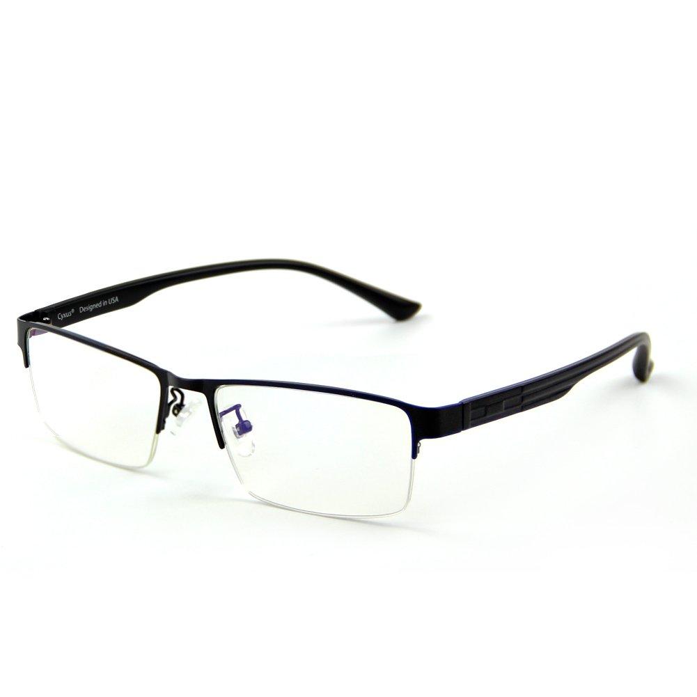 Cyxus Blue Light Filter Semi-rimless Glasses, [Transparent Lens] Anti Eyestrain Computer Reading Glasses (Black Half-Rim Frame)