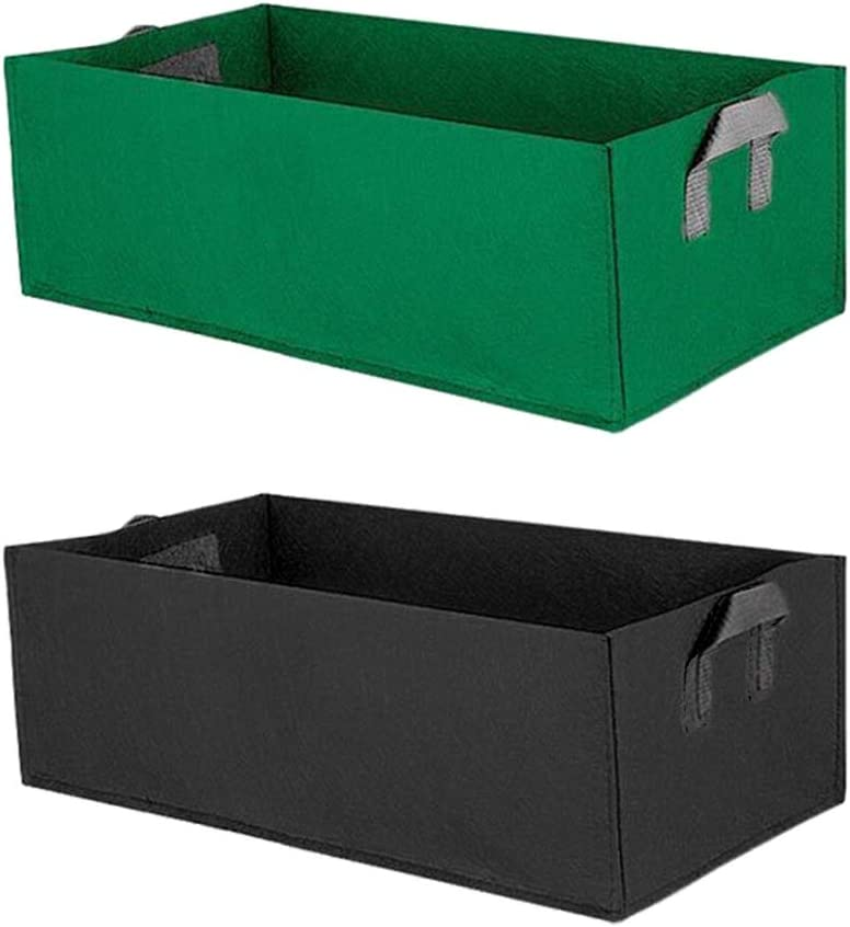 2Pcs Fabric Raised Garden Bed Thickened 10 Gallon Square Garden Flower Grow Bag Vegetable Planting Bag Planter Pot with Handles(60x30x20cm)