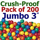 My Balls by CMS Pack of 200 pcs 3.1'' Jumbo Size Crush Proof Plastic Balls in 5 Bright Colors - Phthalate Free BPA Free, Perfect amount for a small inflatable pool