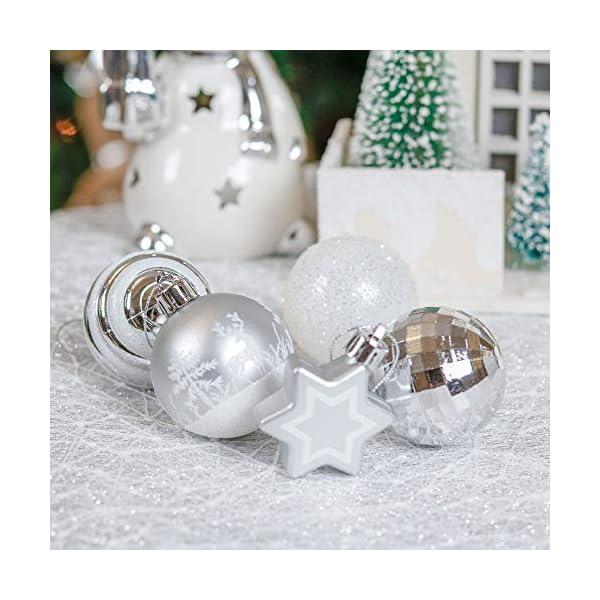 Victor's Workshop Addobbi Natalizi 35 Pezzi 5cm Palle di Natale, Frozen Winter Silver e White Shatterproof Christmas Ball Ornaments Decoration for Christmas Tree Decor 3 spesavip