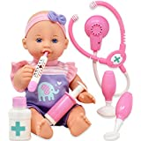 Pretend Play Medical Set, Baby Doll Doctor Kit for Kids Includes 12 Inch Doll, Talking Stethoscope, Thermometer, Needle, Medicine Bottle, Stick and Hammer-Complete Accessories for Toddlers Boy Girl