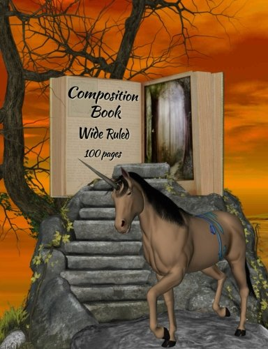 Composition Book: Fantasy unicorn-haunted woods design, wide ruled school notebook, 100 pages, 7.44