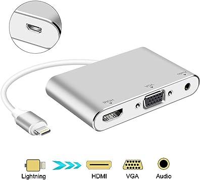Adaptador de audio y video para HDMI y VGA, de aluminio con puerto micro USB para iPhone X, 8, 8 Plus, 7, 7 Plus, 6 Plus, iPad (color plata) de OWIKAR: Amazon.es: