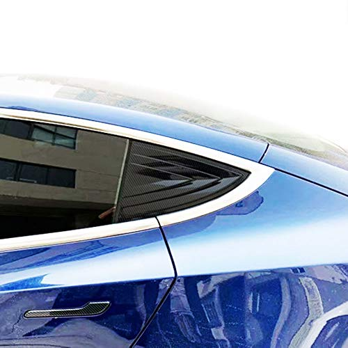 Justautotrim Carbon Fiber Style Exterior Cover Trims Accessories Rear Window Triangle Blinds Bionic air Outlet molidng for Tesla Model 3 2017 2018 2019