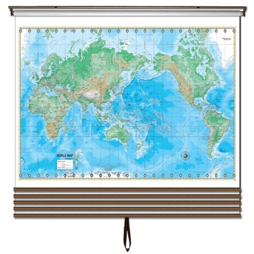 Advanced Physical Wall Maps Set-Roller w/Backboard;6-Map Choices and Mounting Hardware Included