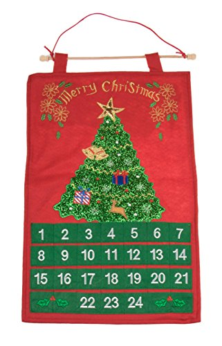 "Christmas 24 Day Hanging Cloth Advent Calendar | Red and Green Christmas Tree and Ornament Christmas Design | Traditional Holiday Christmas Decor Theme | Perfect for Home or Office | Measures 22"" Tall"