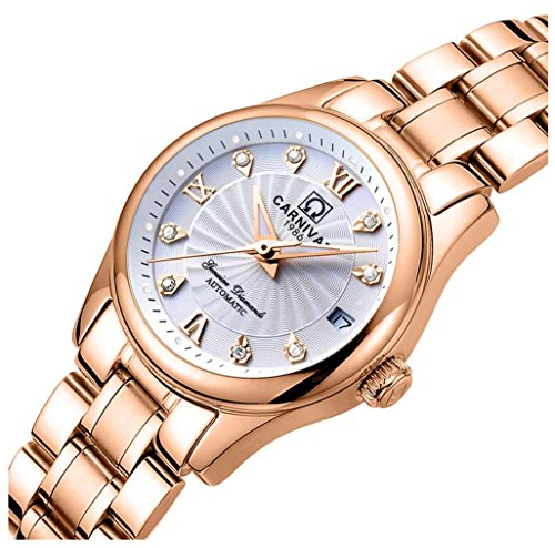 Women's Automatic Mechanical Watch Casual Fashion Analog Waterproof Stainless Steel Rose Gold Dress Watch (Rose Gold White)