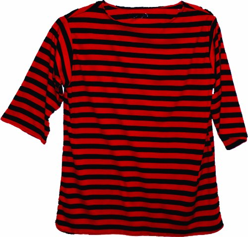 Gondola Costume (Alexanders Costumes Striped Shirt, Red/Black, Large)