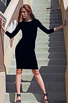ICONOFLASH 3/4 Sleeve Midi Bodycon Dress