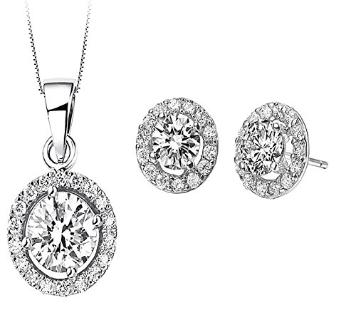 Set Automat - Majesto 18K White Gold Plated Round Necklace Stud Earrings Jewelry Set for Women and Teen Girls