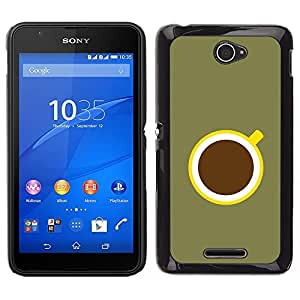"For Sony Xperia E4 Case , Café minimalista Oliva Verde Amarillo"" - Diseño Patrón Teléfono Caso Cubierta Case Bumper Duro Protección Case Cover Funda"
