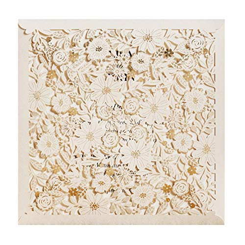 (WISHMADE 1pcs Square Laser Cut Flora Rose Invitation Cards for Foil Wedding Bridal Shower Engagement Birthday Anniversary Dinner Invites Party with Envelopes (Sample))