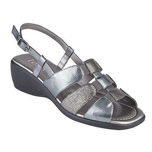 Lotus Mississippi Pewter Leather Sling-Back Sandals Pewter