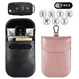 Car Key Signal Blocker Case, Car Key Fob Signal Blocking Bag, Faraday Bag RFID Key Fob Antitheft Lock Devices RFID/WiFi/GSM/LTE/NFC Protector(1Black and 1 Rose Gold,10x14.5cm)