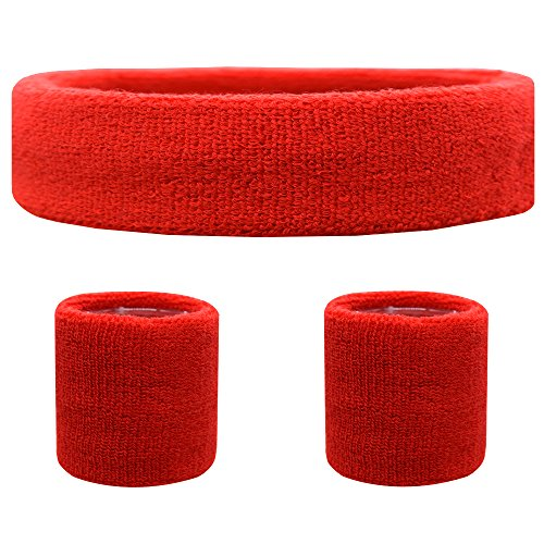 Favofit Sweatband Set [3 Pack] - Including Headband and Wristbands for Women Men and Kids- Perfect for Running Cycling Tennis Football Basketball and All Sports