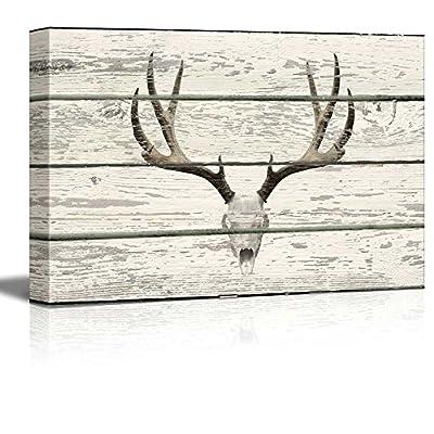 Rustic Western Deer Skull With Antlers - Canvas Art