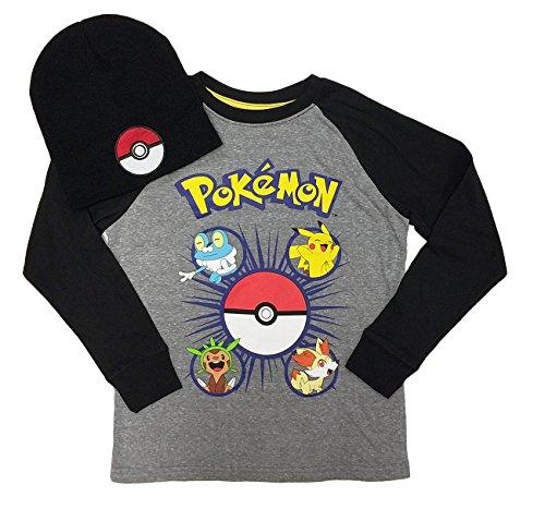 Pokemon-Boys-Long-Sleeve-Shirt-Beanie-Combo