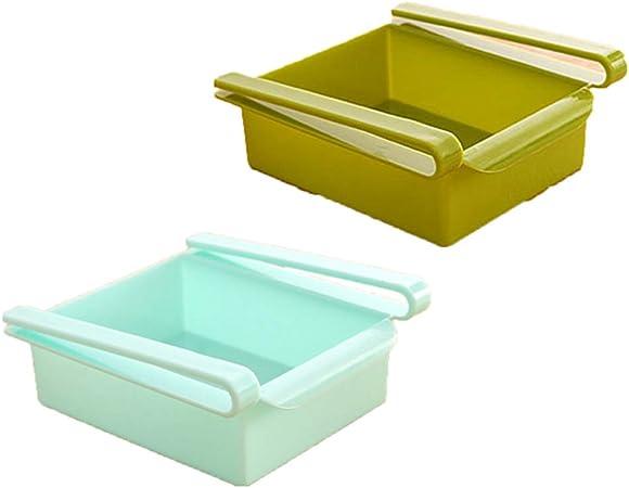 Finewlo - Caja De Almacenamiento Para FrigoríFico O Congelador,Para Cocina, FrigoríFico,Estante De Almacenamiento,Estante Para Congelador,Organizador De Ahorro De Espacio (2 Unidades) Green Blue: Amazon.es: Hogar