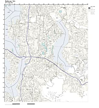 Amazoncom ZIP Code Wall Map of Bellevue WA ZIP Code Map Laminated