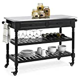Best Choice Products Dining Kitchen Island Storage & Bar Cocktail Cart w/ Stainless Steel Top - Black