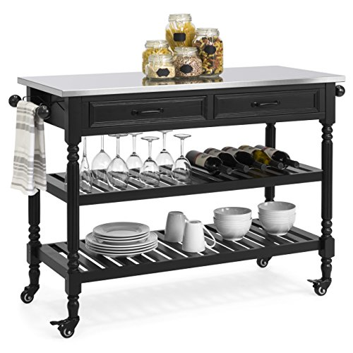 Best Choice Products Dining Kitchen Island Storage & Bar Cocktail Cart w/Stainless Steel Top - Black (Cart With Bar Storage)