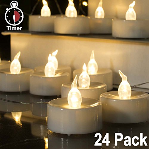 Beichi 24 Pack LED Tea Lights with Timer, Warm White Flicker
