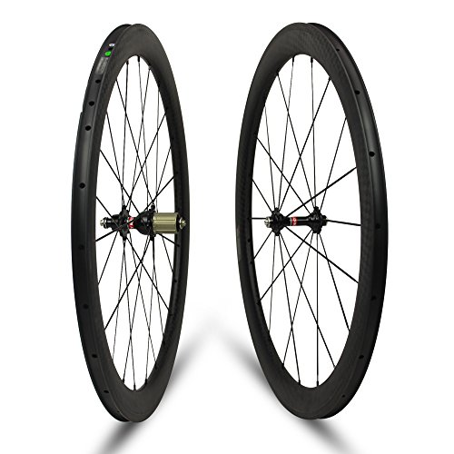 Yuanan 50mm Depth Carbon Bicycle Wheel Clincher Tubular Tubeless Wheelset For 700C road Bike Cycling