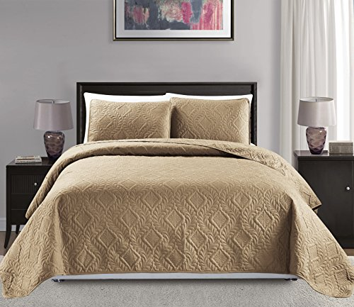 "Mk Collection King/California King Over Size 118""x106"" 3pc Diamond Bedspread Bed-Cover Embossed Solid Taupe New"